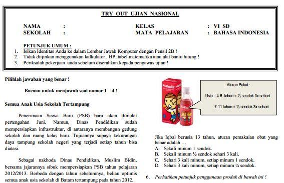 Kumpulan Soal Sukses UN SD Bahasa Indonesia Paket 3 dan Jawaban