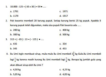 Kumpulan Soal Sukses UN SD Matematika Paket 4 dan Jawaban