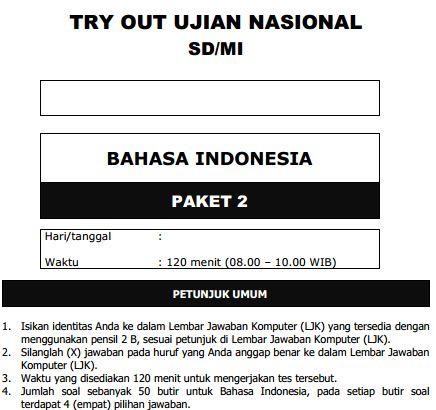 Kumpulan Soal Uji Coba UN SD Bahasa Indonesia Paket 2 dan Kunci Jawaban