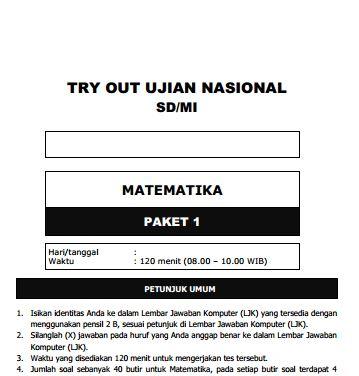 Kumpulan Soal Uji Coba UN SD Matematika Paket 1 dan Kunci Jawaban