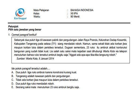 Download Prediksi Soal UN SMA Bahasa Indonesia Paket A dan Kunci Jawaban