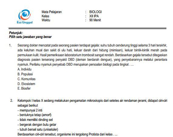 Download Prediksi Soal UN SMA Biologi Paket A dan Kunci Jawaban