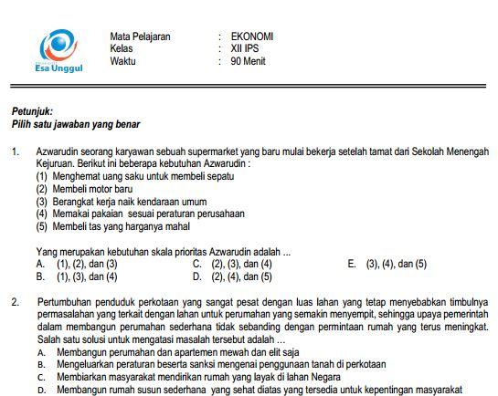 Download Prediksi soal UN SMA Ekonomi Paket A IPS Terbaru