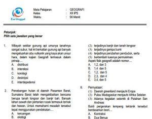 Download Prediksi soal UN SMA Geografi Paket A IPS Terbaru