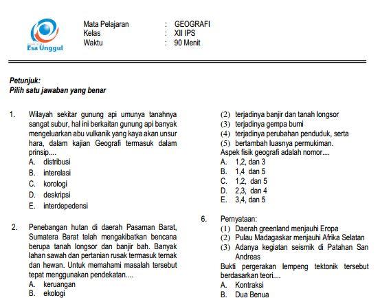 Download Prediksi Soal UN SMA Geografi Paket A dan Kunci Jawaban