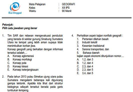 Prediksi Soal UN SMA Geografi Paket B dan Kunci Jawaban