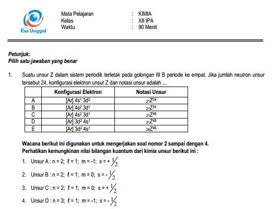 Download Prediksi Soal UN SMA Kimia Paket A dan Kunci Jawaban