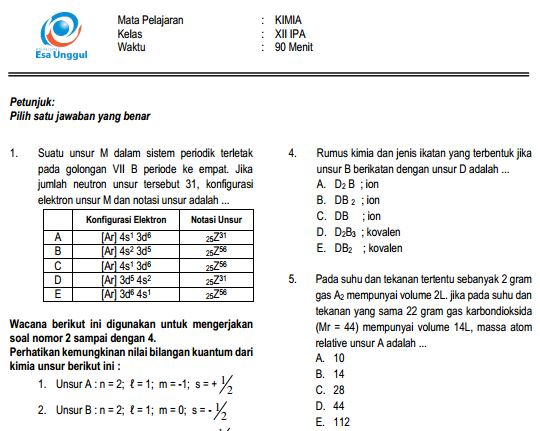 Prediksi Soal UN SMA Kimia Paket B dan Kunci Jawaban