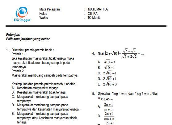 Download Prediksi Soal Un Sma Matematika Ipa Paket A Dan Kunci Jawaban Cari Soal