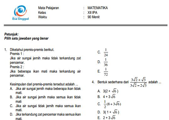 Prediksi Soal UN SMA Matematika IPA Paket B dan Kunci Jawaban