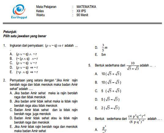 Download Prediksi Soal UN SMA Matematika IPS Paket A dan Kunci Jawaban