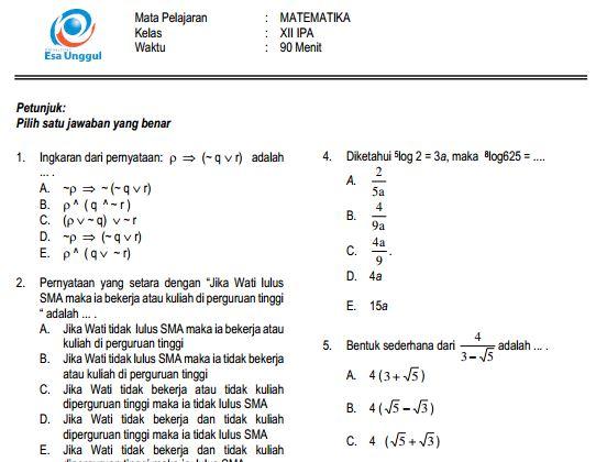 Prediksi Soal UN SMA Matematika IPS Paket B dan Kunci Jawaban