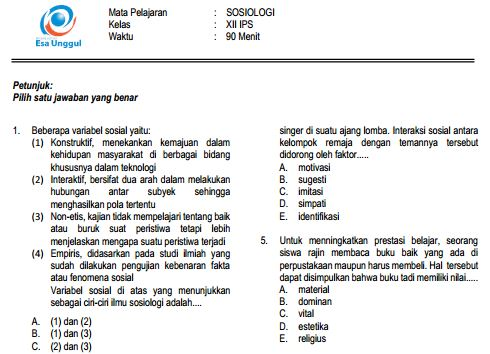 Prediksi Soal UN SMA Sosiologi Paket B dan Kunci Jawaban