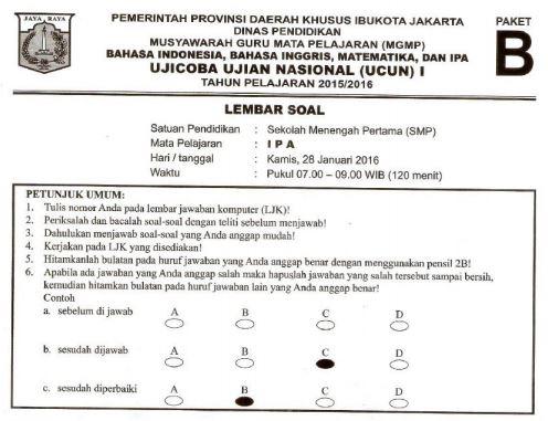 Prediksi Soal UN SMP IPA Paket B dan Kunci Jawaban Pembahasan