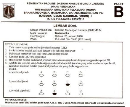 Prediksi Soal UN SMP Matematika Paket B dan Kunci Jawaban