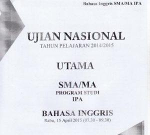 Soal UN SMA Bahasa Inggris 2015 Paket 3