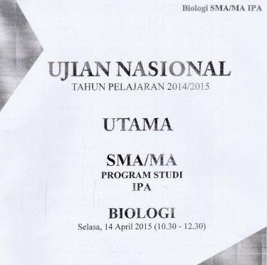 Soal UN SMA Biologi 2015 Paket 3 Untuk Latihan Ujian