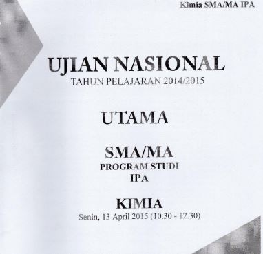 Soal UN SMA Kimia 2015 Paket 3 Untuk Latihan Ujian