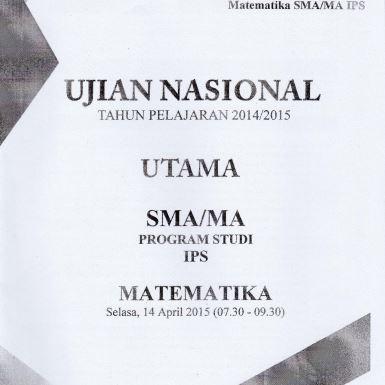 Soal UN SMA Matematika IPS 2015 Paket 1 Untuk Latihan Ujian