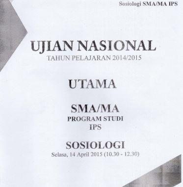 Soal UN SMA Sosiologi 2015 Paket 3 Untuk Latihan