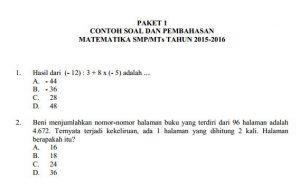 contoh soal UN SMP Matematika dan pembahasan kunci jawaban soal