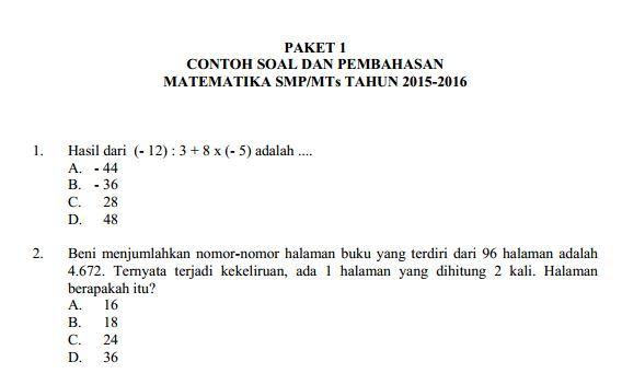 Contoh Soal UN SMP Matematika & Pembahasan Soal