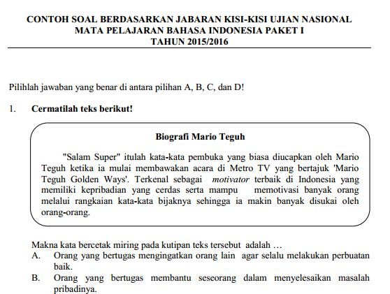 Contoh Soal UN SMP Bahasa Indonesia & Pembahasan Soal