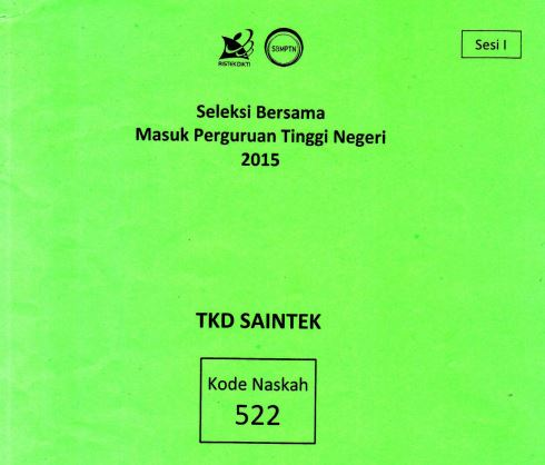 Download Soal SBMPTN 2015 TKD Saintek Kode 522