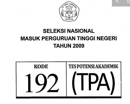 Download Soal SNMPTN 2009 TPA Tes Potensi Akademik Kode 192