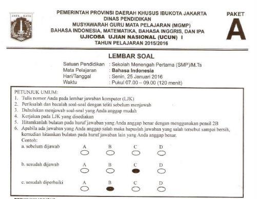 Prediksi Soal UN SMP Bahasa Indonesia Paket A