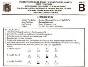 prediksi soal UN SMP Bahasa Indonesia Paket B dan kunci jawaban pembahasan