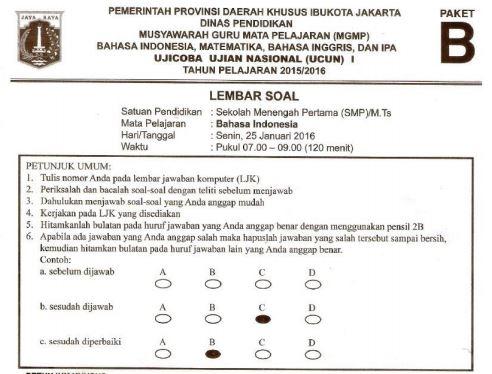 Prediksi Soal UN SMP Bahasa Indonesia Paket B dan Kunci Jawaban