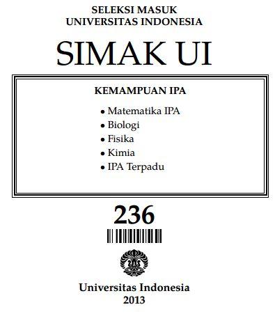 Soal SIMAK UI 2013 Kemampuan IPA Paket 236 Untuk Latihan