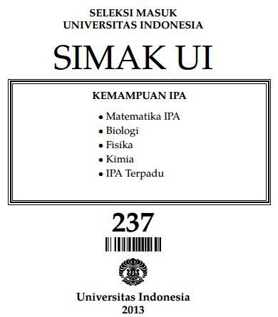 Soal SIMAK UI 2013 Kemampuan IPA Paket 237 Untuk Latihan