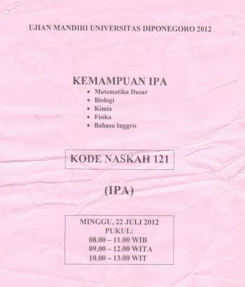 Soal UM UNDIP 2012 IPA Saintek Kode 121 Untuk Latihan